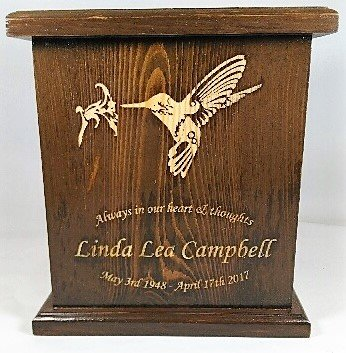 Humming Bird Cremation Urn, Wooden Urn, Adult Funeral Wooden Urn With personalized Engraving by NWA (Image #1)