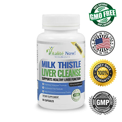 Best Liver Cleanse & Detox – Milk Thistle, Artichoke Leaf, Dandelion Leaf, Protease, Lipase, Solarplast™ – Counteracts Free Radicals, Helps Remove Env Toxins – Non-GMO – Vegetarian For Sale