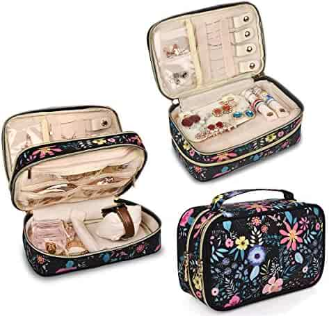 b74abea1c Travel Jewelry Organizer Case,Storage Bag Holder for Earrings,Necklace,Rings ,Watch