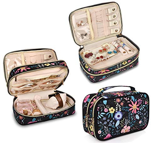 - Travel Jewelry Organizer Case,Storage Bag Holder for Earrings,Necklace,Rings,Watch - Girl Portable Jewelry Case Black-Flower