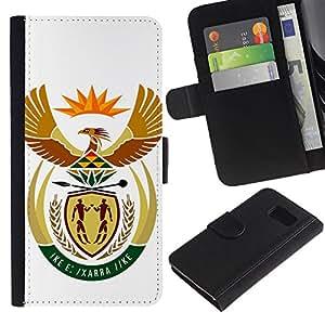 Billetera de Cuero Caso Titular de la tarjeta Carcasa Funda para Samsung Galaxy S6 SM-G920 / South Africa Coat of Arms / STRONG