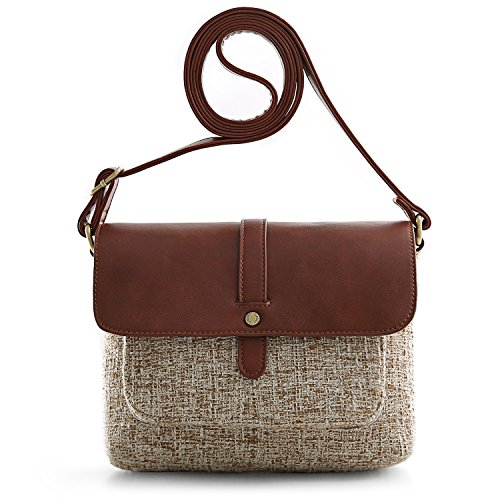 ECOSUSI Women Shoulder Crossbody Bag Flap-over Vintage Handbag Purse with Back Pocket, Brown