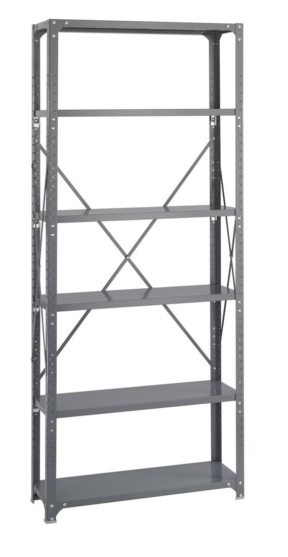 Safco Products 6250 Industrial Shelving 36''W x 12''D Shelves, (Qty. 6) Kit with 6256 Industrial Shelving Post Frame, Gray