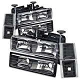 97 chevy hid headlight kit - Chevy C/K-Series GMT400 Facelifted 8-PC Black Housing Headlight+Bumper+Corner Lights Kit