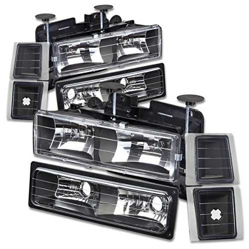 For Chevy C10 C/K-Series GMT400 Facelifted 8-PC Black Housing Headlight+Bumper+Corner Lights Kit