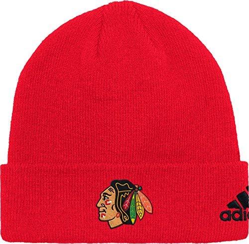 adidas Men's Chicago Blackhawks Basic Red Knit Beanie ()