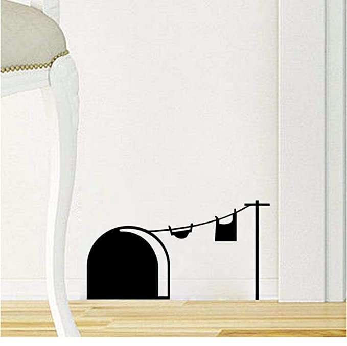 1PC Mouse Hole Wall Cartoon 3D Wall Decals Christmas Decoration Home Kids Rooms