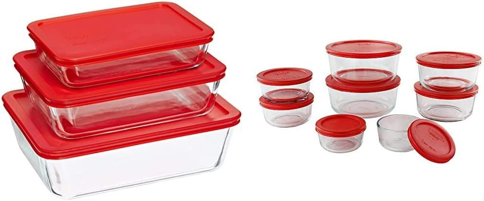 Pyrex Rectangular Food Storage, Red, (6 Pack) & Simply Store Meal Prep Glass Food Storage Containers (16-Piece Set, BPA Free Lids, Oven Safe)