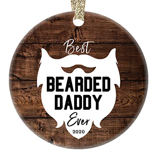 Bearded Daddy Ornament Best Ever 2020 Porcelain Keepsake Christmas Present for Dad Father Papa from Son Daughter Children Kids 3