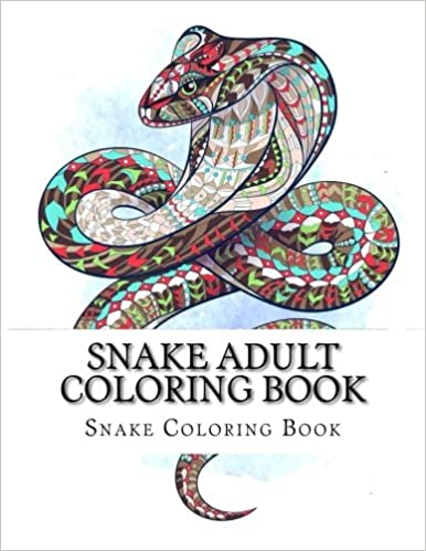 Snake Adult Coloring Book (Snakes, Reptile Coloring Book Cover ...