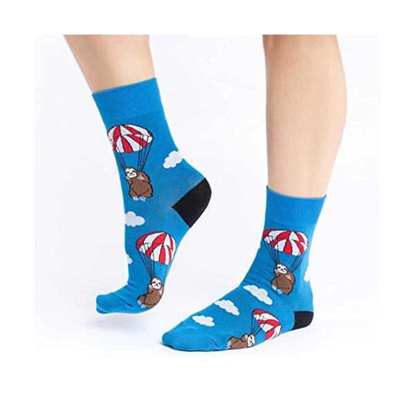 Good Luck Sock Women'S Parachuting Sloths Socks - Blue, Adult Shoe Size 5-9 -