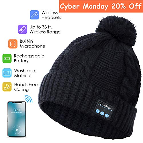 Bluetooth Beanie, Wireless Headphone Beanie, Pom Pom Beanie Hat Built-in HD Stereo Speakers & Microphone with Rechargeable USB for Winter Fitness Outdoor Sports (Black)