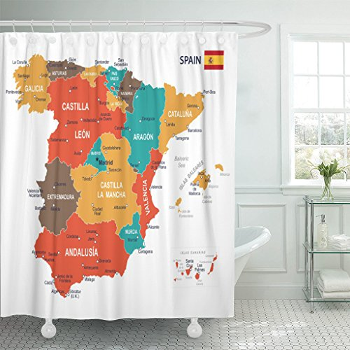 TOMPOP Shower Curtain Blue Government of Spain Map Brown Spanish City Waterproof Polyester Fabric 78 x 72 inches Set with Hooks