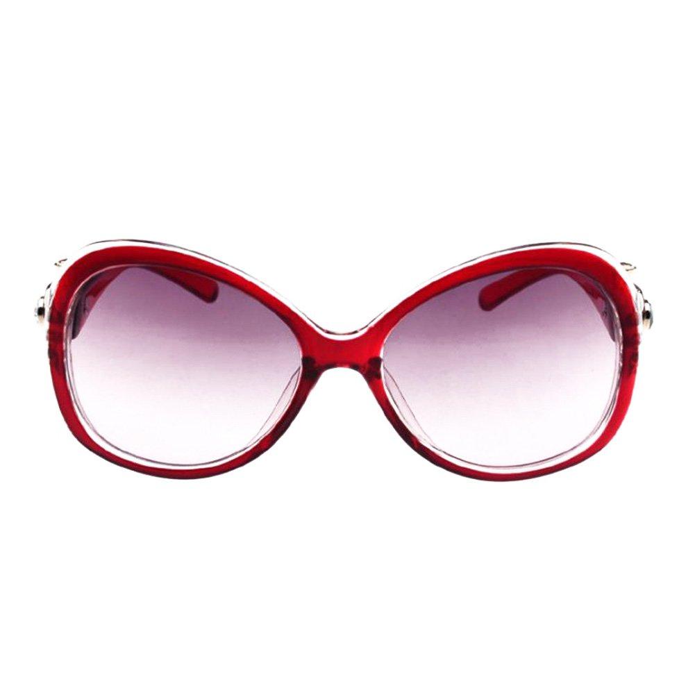Qingsun Moda Fashion Gafas de Sol Sunglasses Montura Decorada Oversized Protección de Ojos Moderno para Mujer Rojo