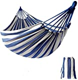KEREITH Al Aire Libre jardín Hamaca algodón Suave Camping Hamaca con Mochila, Mejor para Patio, Porche, Viajes, Camping. (Azul/Blanco,MAX Load 100kgs)