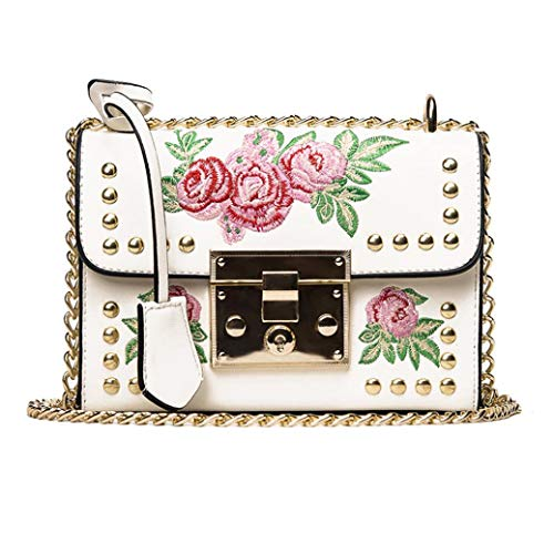 Kanpola Women Messenger Bags Embroidery Rose Crossbody Shoulder Bags Chain Body Bags Black White