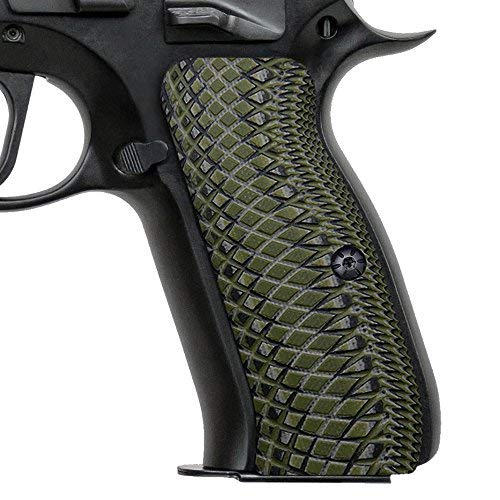 Cool Hand CZ 75 Full Size Grips with Snake Scale Texture, OD Green/Black, 0.26'' by Cool Hand