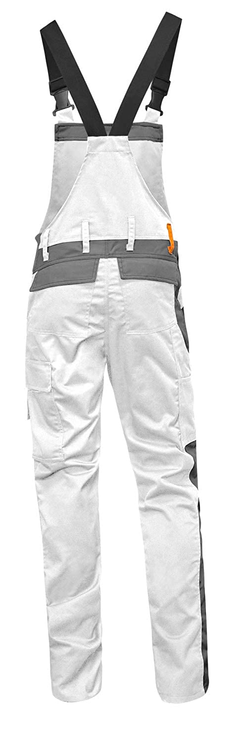 Made in EU Mens Painter Stretch Bib and Brace Overalls with Knee pad Pockets Painter Suit White-Grey strongAnt/® Painter Trousers Berlin