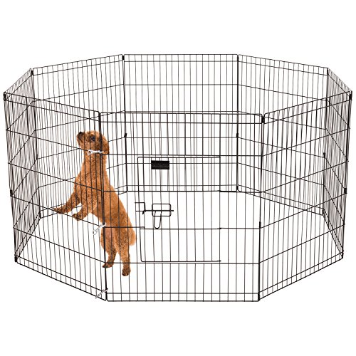 Ollieroo Pet Playpen Dog/Cat Exercise Pen Outdoor/Indoor Cage 8 Panels Black