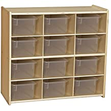 Wood Designs Contender C16121 Baltic Birch 12-Cubby Storage Unit with Clear Tubs, RTA (Pack of 12)