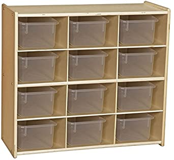Contender C16121F Baltic Birch 12 Cubby Storage Unit W/Clear Tubs Assembled