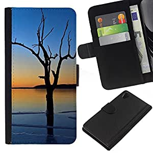 KingStore / Leather Etui en cuir / Sony Xperia Z2 D6502 / Sea Blue Tree romántica Naturaleza