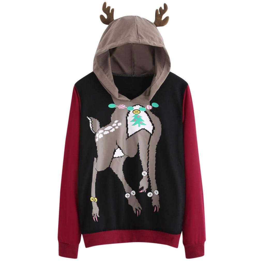 Tsmile Clearance Winter Womens Long Sleeve Elk Deer Casual Sweatshirt Hooded Pullover Tops Blouse Lightning Sales