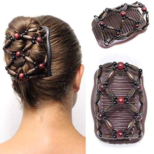 FANCY COMBS Wooden Thick Hair Clips, The Best Hair Accessories for Women - Bun Holder, French Twist Holder, Ponytail - Decorative Hair Combs with Interlocking System. (Brown, Merlot Color)