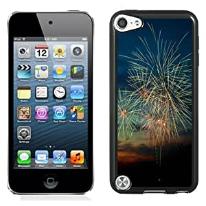 NEW Unique Custom Designed iPod Touch 5 Phone Case With Happy New Year 2015 Fireworks Sunset_Black Phone Case