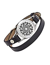 EVERLEAD Carving Round Aromatherapy Essential Oils Diffuser Locket Bracelet 316l Stainless Steel Real Leather Bracelet