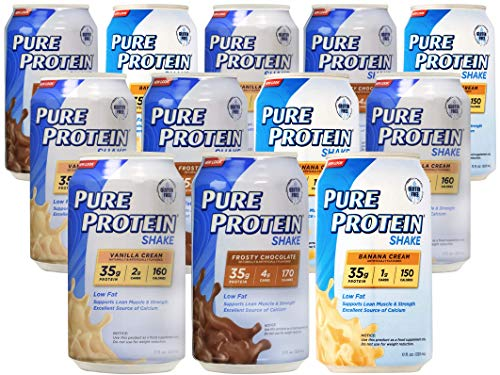 Pure Protein Ready to Drink Meal Replacement Shakes (12 pack) Vanilla Cream, Frosty Chocolate, and Banana Cream 11oz (Pure Protein Whey Protein Powder For Weight Loss)