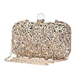 UBORSE Women Wedding Clutch Rhinestone Bling Sequin Evening Bags Vintage Crystal Beaded Cocktail Party Party Purse Gold