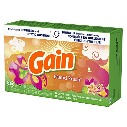 Gain Dryer Sheets, Island Fresh Scent, 80 count (Pack of 3)
