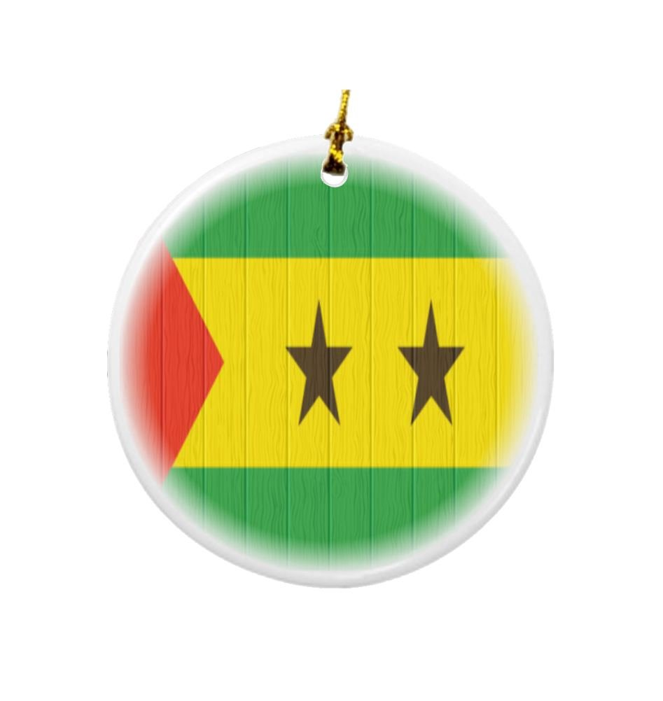 Rikki Knight Sao Tome and Principe Flag on Distressed Wood Design Round Porcelain Two-Sided Christmas Ornaments by Rikki Knight (Image #1)