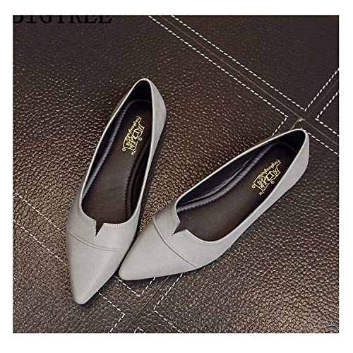 Leather Shoes Women Loafers Women Pointed Toe Flats Creepers Harajuku Shoes Luxury Shoes Gray 5