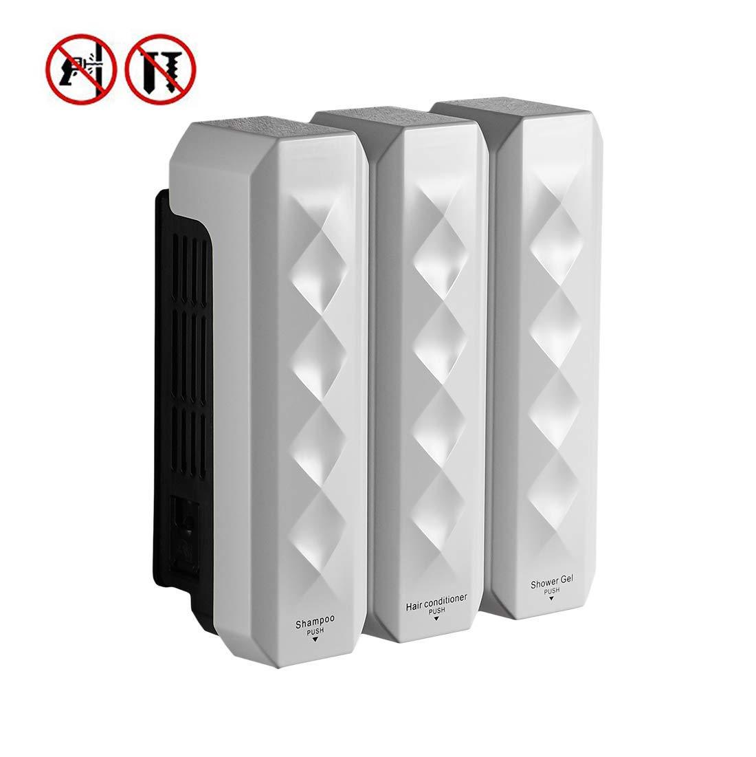 Soap Dispenser Soap/Shampoo/Lotion Modular Design-Wall Mount - 1050ml/36oz - ABS Plastic - White 18039W-3 by WANFAN