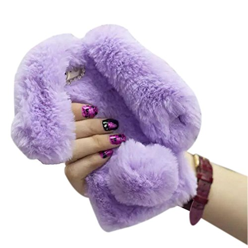 iPhone 6S Case Cute,Shinetop Luxury Bling Diamond Soft Warm Fluffy Rabbit Fur Case Cover Winter Handmade Bunny Hair Plush with Crystal Bowknot Protective Case for iPhone 6 6S 4.7 inch - Light Purple ()
