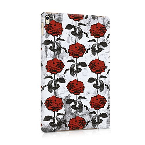 (Crimson Dark Red Roses Blossom Pattern Plastic Tablet Snap On Back Case Cover Shell For iPad Pro 9.7)