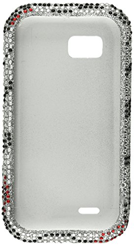 (Aimo LGMTQPCLDI650 Dazzling Diamond Bling Case for LG MyTouch Q C800 - Retail Packaging - Zebra Lips)