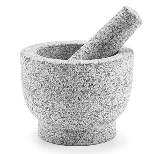 CO-Z Granite Mortar and Pestle Set for Guacamole Spice Herbs Salads, Unpolished Granite Molcajete Grinder, Non Porous, Dishwasher Safe, 6 Inch, 2 Cups Capacity