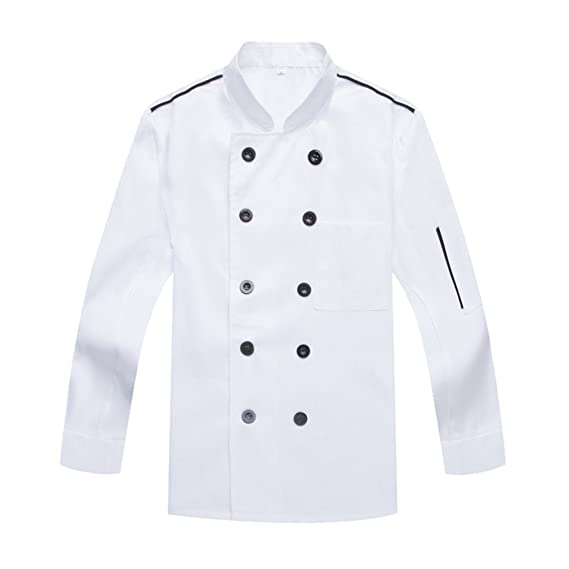 Camisa de Cocinero Cocina Uniforme Manga Larga Blanco: Amazon.es ...