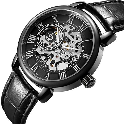 German Mechanical Watches (Sweetbless Wristwatch Men's Royal Classic Roman Index Hand-wind Mechanical Watch Black)