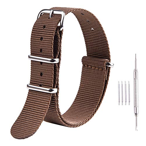 Ritche 20mm NATO Straps Brown Nylon Watch Bands Compatible with Timex Expedition Watch for Men Women Brown Expedition Watch Band