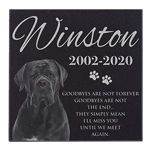 Lara Laser Works Personalized Dog Memorial with Photo Free Engraving MDL1 Customized Grave Marker   12x12