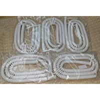 Lot of 5 Bright White 25 Ft LONG Handset Phone Cord for AT&T Trimline 205 210 210M 220 230 230M TR1909 554 2554 Princess Wall (5-Pack) by DIY-BizPhones