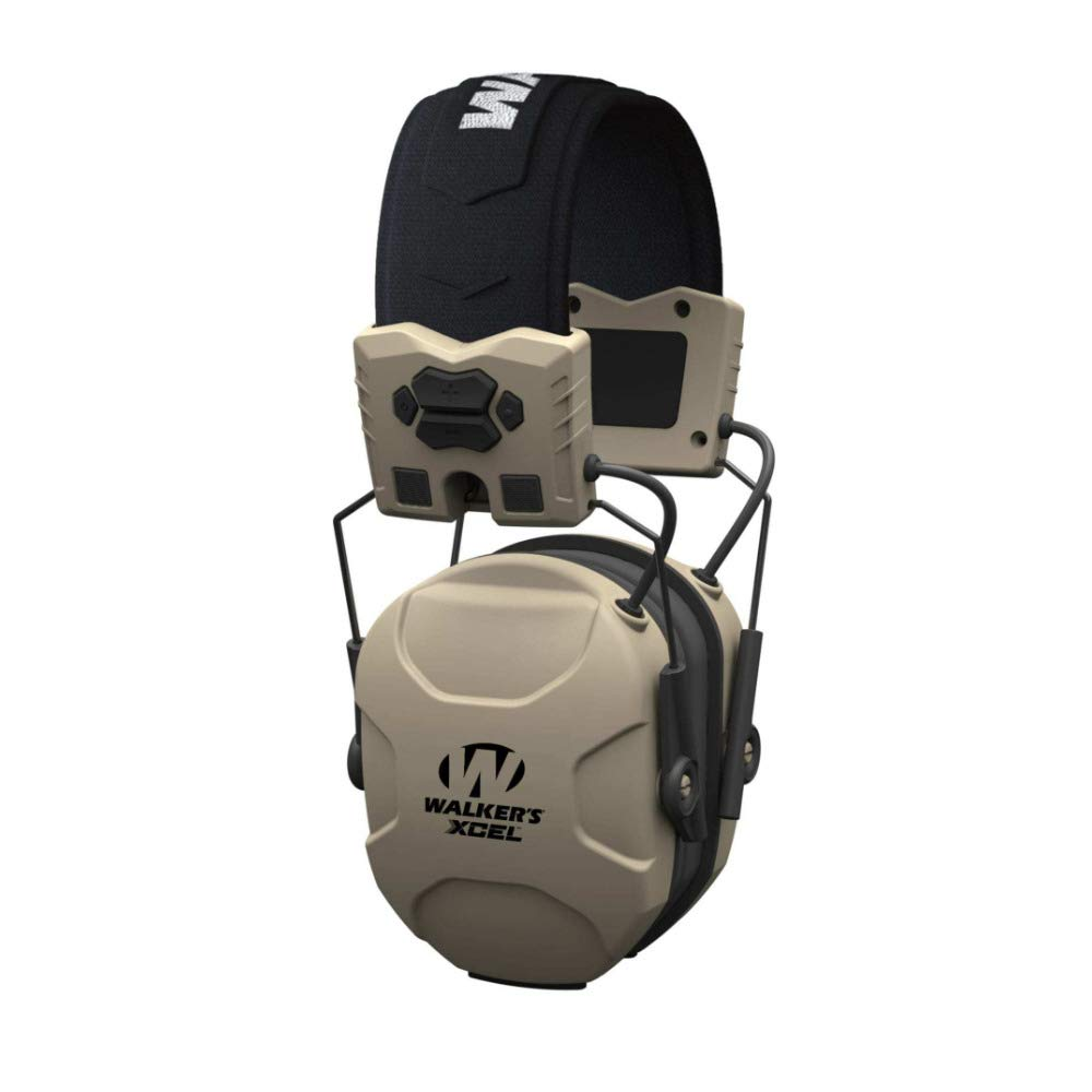 Walkers XCEL 100 Digital Electronic Hearing Protection Muff with Voice Clarity and OTG Shooting Glasses Bundle