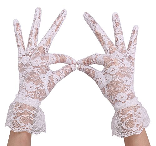 Floral Lace Gloves - AbbyLexi Women's Vintage Sheer Floral Lace Gloves w/ Wrist Ruffle, White
