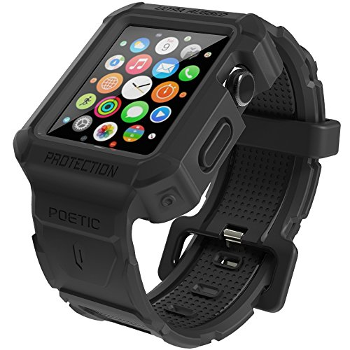 Apple Watch All In One Ultra Rugged Active Workout CaseBand Poetic [Rugged BAND] Apple Watch 42mm Caseband Ultimate Shock Protection NEW [SPARTAN] [Jet Black] - Ultra Rugged Protection From Drops And Impact With a Chiseled Design And Wide Band f...