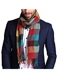 Maying Holiday Winter Men's Scarf in Rich Plaids Couple's Soft Shawl