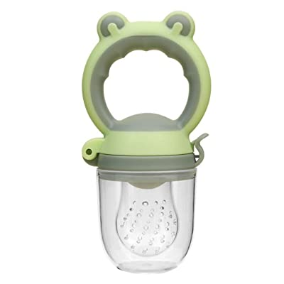 Efaster Baby Fruit Feeder Pacifier, Toddlers Baby Teether Vegetable Fruit Toddler Teething Toy, Ring Chewable Soother, Silicone Fresh Food Feeder (S, Green) : Baby